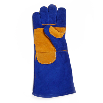 16 Inch Large Blue Premium Leather Welding Gloves
